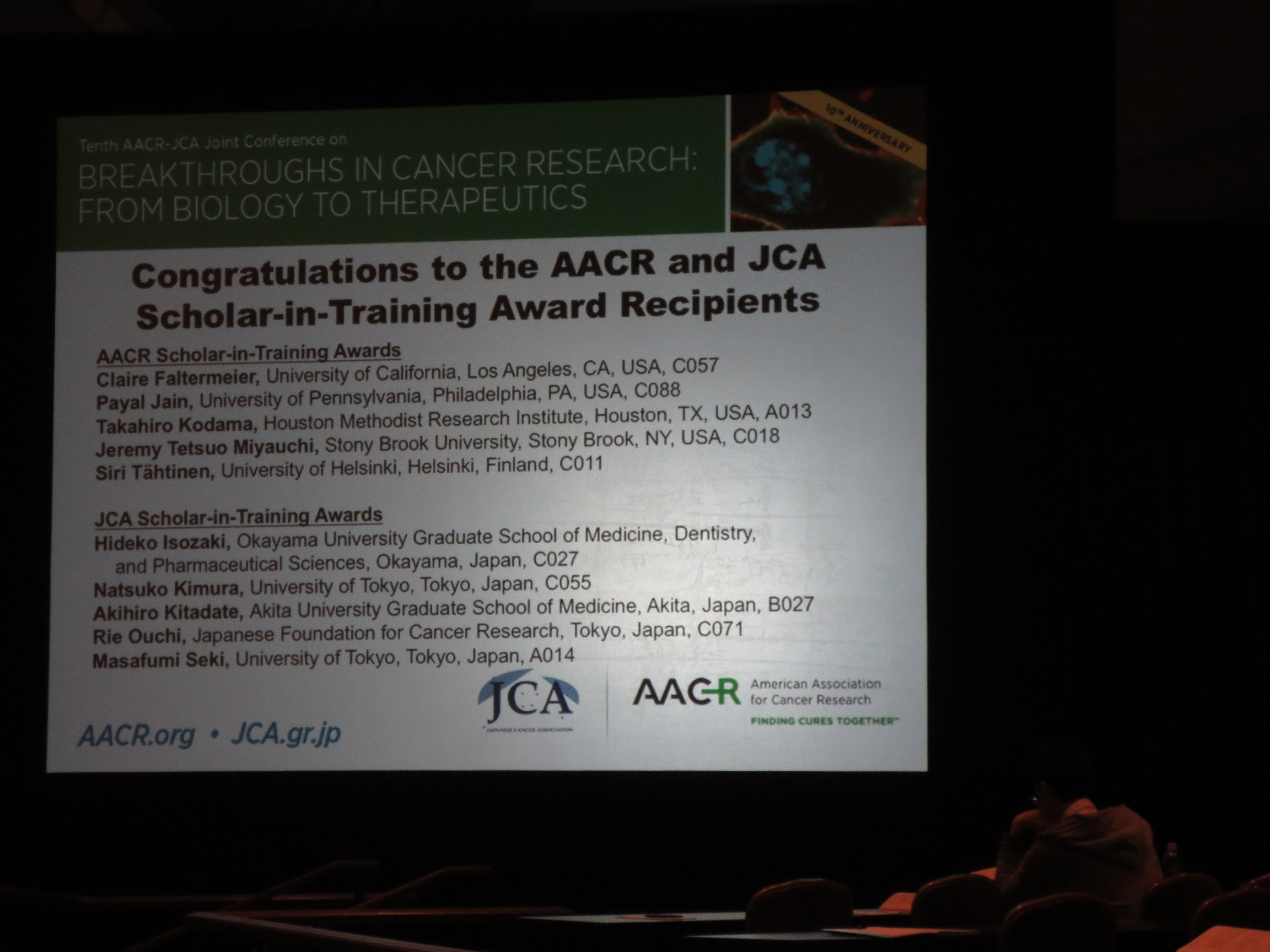 Tenth AACR-JCA joint conference in Maui (Award受賞者のお知らせ)